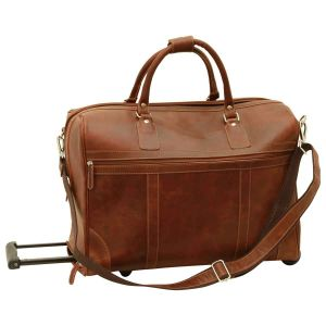Oiled Calfskin leather duffel bag - Chestnut