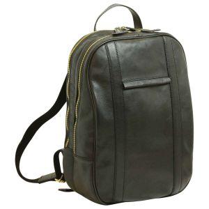 Soft Calfskin Leather Laptop Backpack - Black