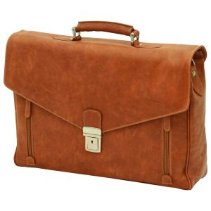 Oiled Calfskin Leather Laptop Briefcase - Brown Colonial