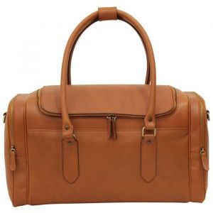 Round Metal Zip Leather Travel Bag - Brown Colonial