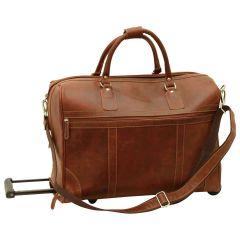 Oiled Calfskin leather duffel bag - Chestnut