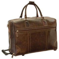 Oiled Calfskin leather duffel bag - Dark Brown