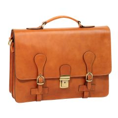 Leather Briefcase with buckle closures - Brown Colonial