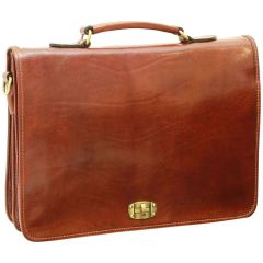 Cowhide Leather Full Lenght Flap Briefcase - Brown
