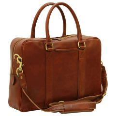 Soft Calfskin Leather Briefcase - Brown