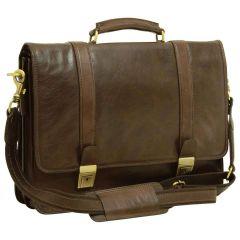 Soft Calfskin Leather Briefcase with shoulder strap - Dark Brown