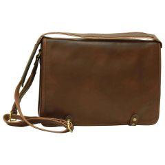 Calfskin Nappa Messenger Bag – Dark Brown