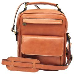 Leather Shoulder Bag with front pocket - Brown Colonial