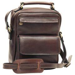 Leather Shoulder Bag with front pocket - Dark Brown