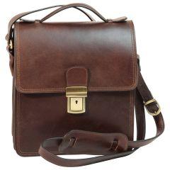 Leather Cross Body Satchel Bag - Dark Brown