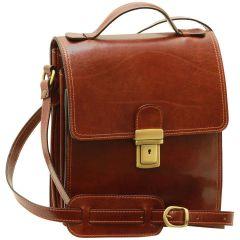 Leather Cross Body Satchel Bag - Brown