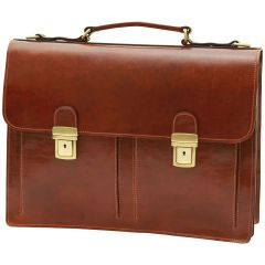 Leather Briefcase with 2 compatments - Brown
