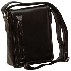 Oiled Calfskin leather crossbody bag - Black