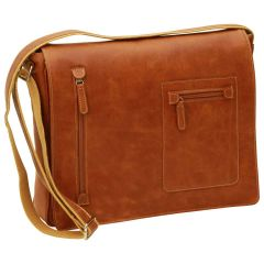 Oiled Calfskin leather messenger bag - Brown Colonial