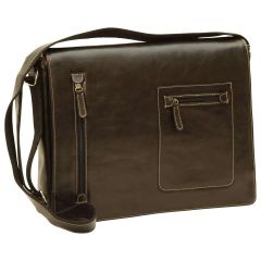 Oiled Calfskin leather messenger bag - Black