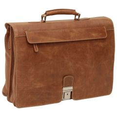Oiled Calfskin Leather Briefcase with frontal zip pocket - Brown Colonial