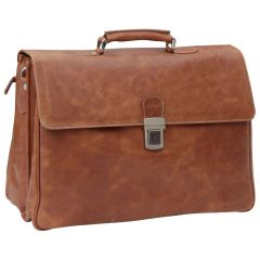 Oiled Calfskin Leather Briefcase with key closure - Brown Colonial