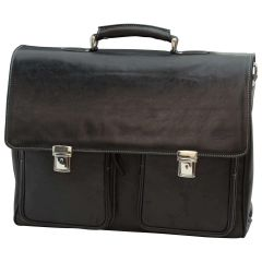 Oiled Calfskin Leather Briefcase with two clasp closure - Black