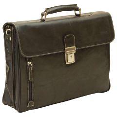 Oiled Calfskin Leather Briefcase with shoulder strap - Black