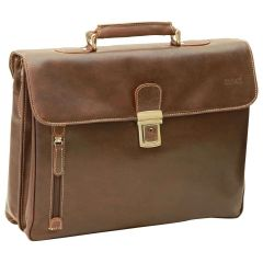 Oiled Calfskin Leather Briefcase with shoulder strap - Dark Brown