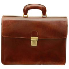Leather Briefcase with secure clip closure - Brown