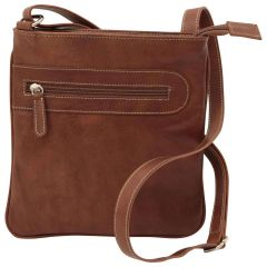 Leather cross body bag with zip pocket - Chestnut