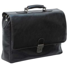 Leather Laptop Briefacase - Black