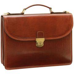 Vachetta Leather Briefcase - Brown