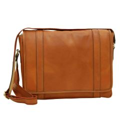 Soft Calfskin Leather Messenger Bag - Gold