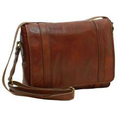 Soft Calfskin Leather Messenger Bag - Brown