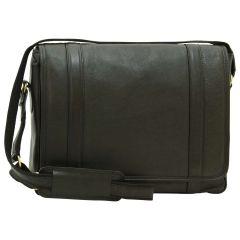 Soft Calfskin Leather Messenger Bag - Black