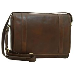 Soft Calfskin Leather Messenger Bag - Dark Brown