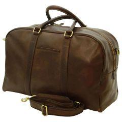Soft Calfskin Leather Travel Bag - Dark Brown