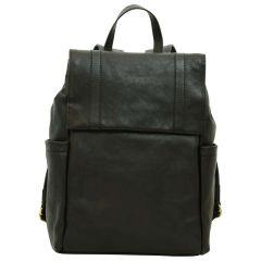 Leather laptop backpack - Black