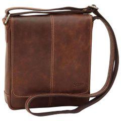 Oiled Calfskin Leather Satchel Bag - Chestnut