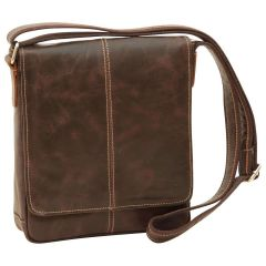 Oiled Calfskin Leather Satchel Bag - Dark Brown