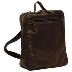 Oiled Calfskin Leather Laptop backpack with zip closure - Black