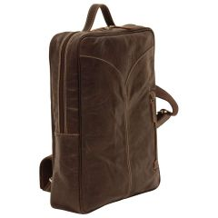 Oiled Calfskin Leather Laptop backpack - Dark Brown