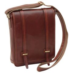 Medium leather bag with double magnetic closure - Brown