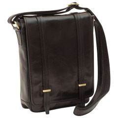 Medium leather bag with double magnetic closure - Black