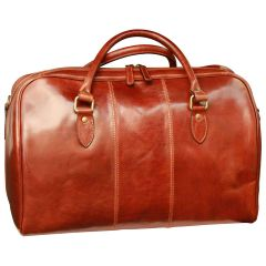 Leather duffel bag with zip closure - Brown