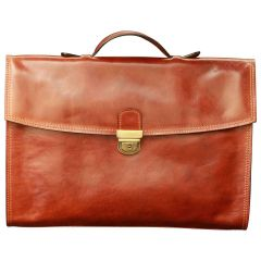 Business Leather Briefcase - Brown