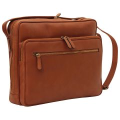 Large leather bag with zip closures - Brown Colonial