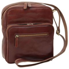 Small leather bag with zip closures - Brown