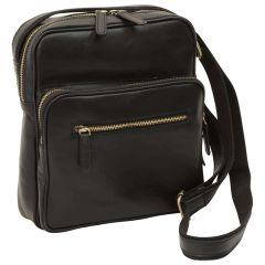 Small leather bag with zip closures - Black
