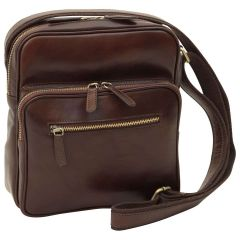 Small leather bag with zip closures - Dark Brown