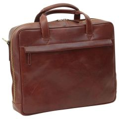 Leather Briefcase with zip closure - Brown