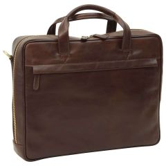 Leather Briefcase with zip closure - Dark Brown