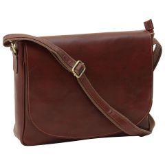 Leather laptop messenger - Brown
