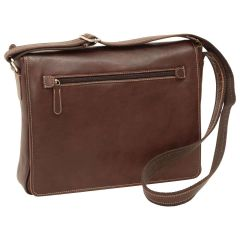 Oiled calfskin leather messenger with frontal zip closure - Dark Brown